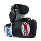View the Sandee Kids Velcro 2 Tone Boxing Gloves Black/White Synthetic Leather online at Fight Outlet