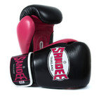 View the Sandee Neon Velcro Black & Pink Leather Boxing Glove online at Fight Outlet