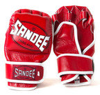View the Sandee Red & White Leather MMA Sparring Glove online at Fight Outlet