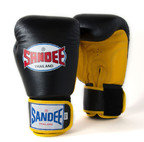 View the Sandee Velcro 2 Tone Boxing Gloves Leather - Black/Yellow online at Fight Outlet