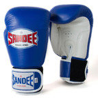 View the Sandee Velcro 2 Tone Boxing Gloves Leather - Blue/White online at Fight Outlet