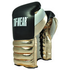 Tuf Wear Apollo Metallic Lace Leather Sparring Glove, Black/White/Metallic Gold