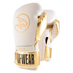 View the Tuf Wear Pegasus Leather Boxing Glove White/Gold online at Fight Outlet