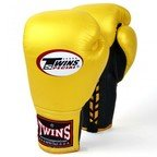 View the BGLL-1 Twins Gold Black Lace-up Sparring Gloves online at Fight Outlet