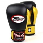 View the BGVL-3T Twins 2-Tone Black-Gold Boxing Gloves online at Fight Outlet