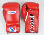 Winning Training Boxing Gloves Red Lace 16oz